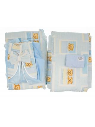 Комплект в кроватку (4 предмета), цвет голубой