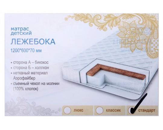 Матрас детский беспружинный «Лежебока Эконом» 120х60х7 см, двусторонний