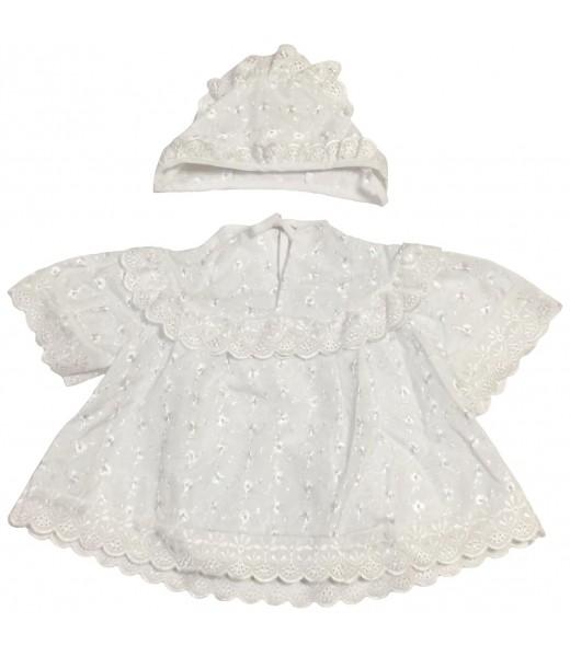 Комплект для крещения девочки, платье и чепчик, шитье (2 предмета)