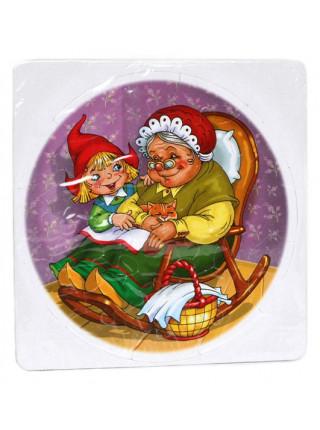 Красная шапочка и бабушка. Мягкий круглый пазл в пакете (30 элементов)