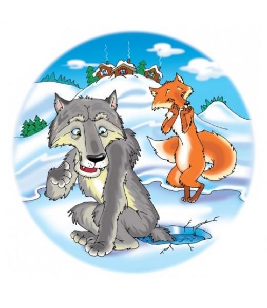 Волк и Лиса. Мягкий круглый пазл в пакете (30 элементов)