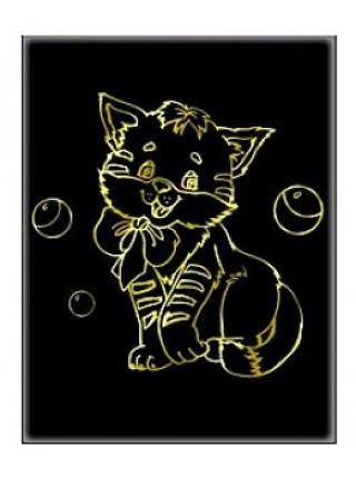 """Гравюра """"Котенок"""" с эффектом золота, А4, в конверте"""