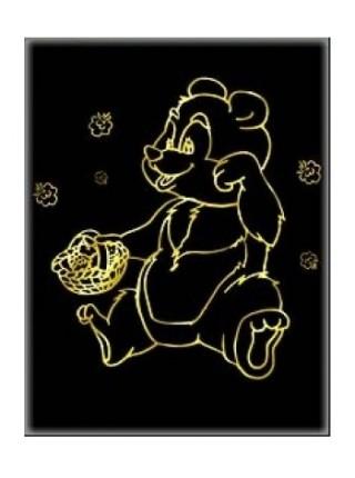 """Гравюра """"Мишка"""" с эффектом золота, А4, в конверте"""