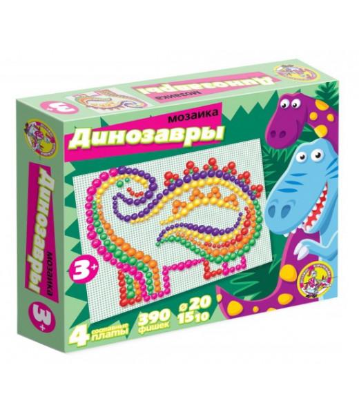 """Мозаика """"Динозавры"""" (4 поля, 6цв, 390 шт., 10,15,20 мм)"""
