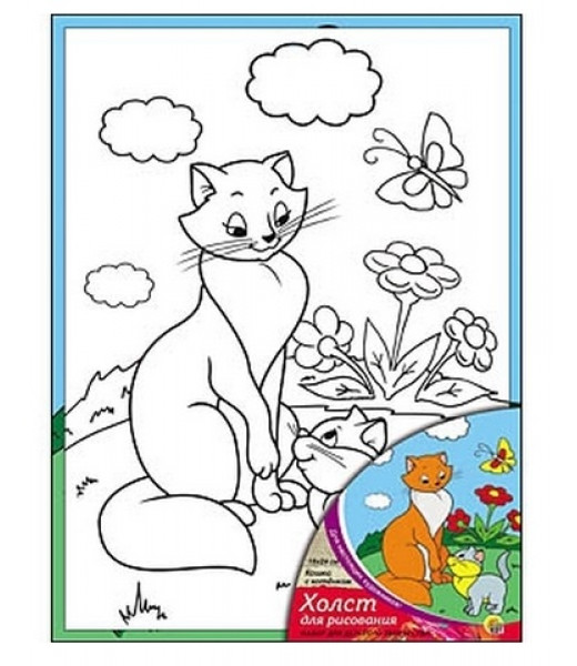 """Холст с красками """"Кошка с котёнком"""""""