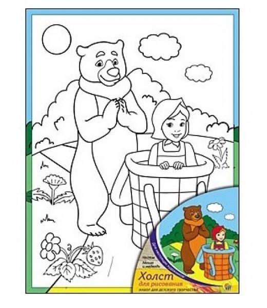 """Холст с красками """"Маша и Медведь"""""""