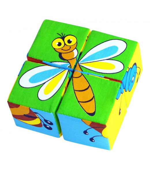 """Кубики """"Собери картинку. Насекомые"""" Мякиши"""