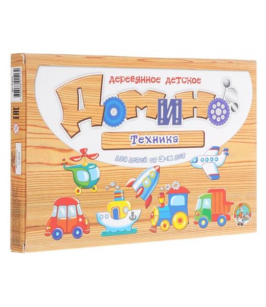 """Деревянное детское домино """"Техника"""""""