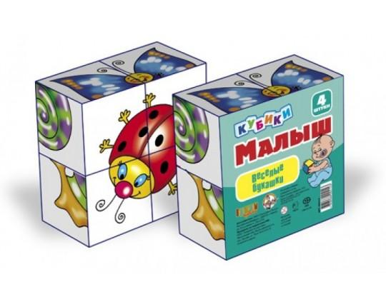"Кубики ""Малыш: Веселые букашки"" (4 шт.)"