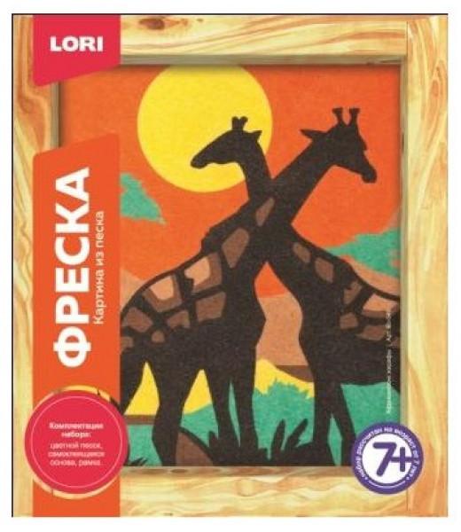 """Картина из песка """"Фреска"""" - Африканские жирафы"""