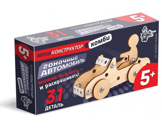"""Конструктор из дерева и металла """"Гоночный автомобиль"""", 31 деталь"""