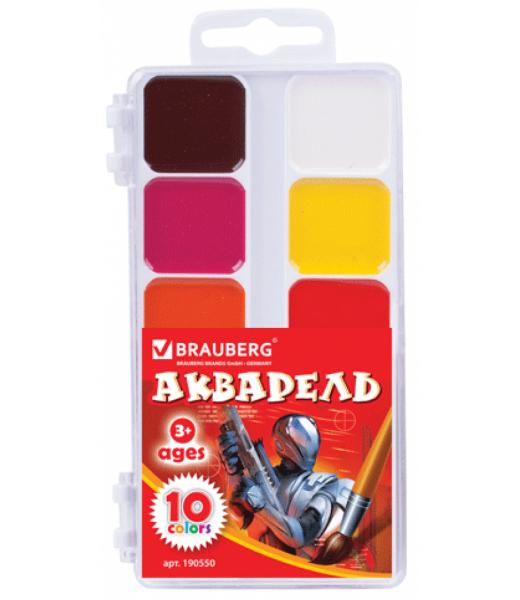 Краски акварельные BRAUBERG (10цв, без кисти)