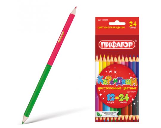 """Карандаши двухцветные """"Пифагор"""" (12 штук, 24 цвета)"""